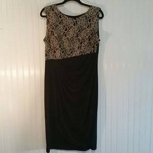 Enfocus Black Dress with Gold Lacy Bodice